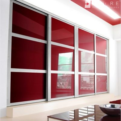 Red Glass Sliding Fitted Built In Wardrobe 2 1