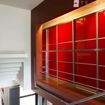Red Glass Sliding Fitted Built In Wardrobe 2 3