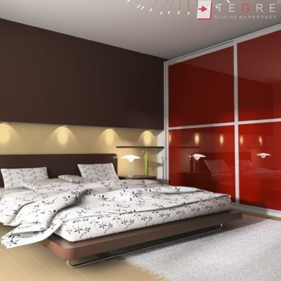 Red Glass Sliding Fitted Built In Wardrobe 3 3