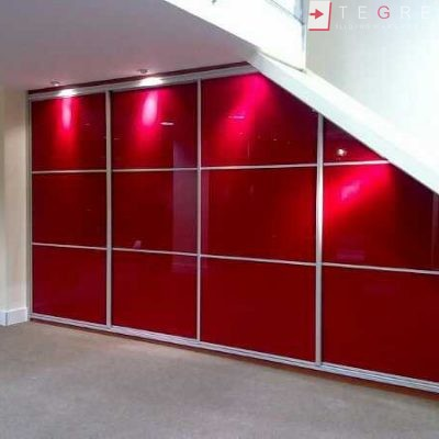 Red Glass Sliding Fitted Built In Wardrobe 4 3