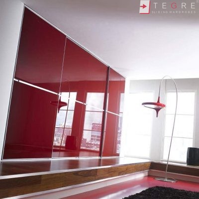 Red Glass Sliding Fitted Built In Wardrobe 4