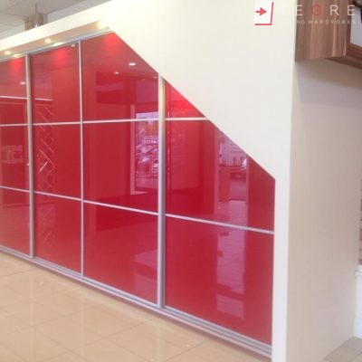 Red Glass Sliding Fitted Built In Wardrobe 5 3