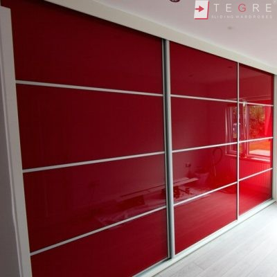 Red Glass Sliding Fitted Built In Wardrobe 6 3