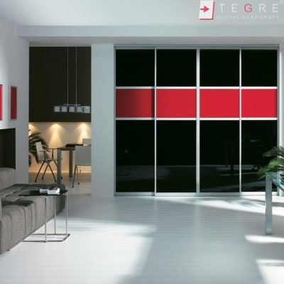 Sliding Black Glass Built In Wardrobes 14
