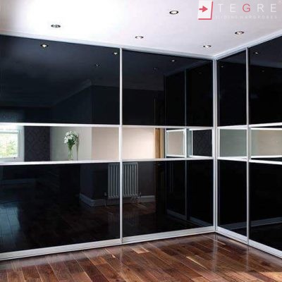 Sliding Black Glass Built In Wardrobes 15