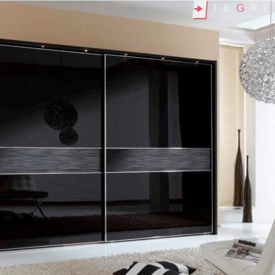 Sliding Black Glass Built In Wardrobes 19