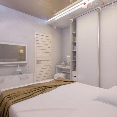 White Panel & White Glass Sliding & Built In Wardrobe 20