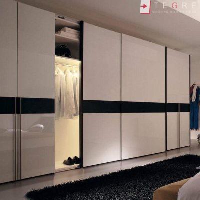 White Panel & White Glass Sliding & Built In Wardrobe 22