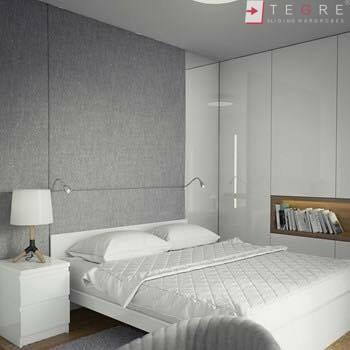 White Panel & White Glass Sliding & Built In Wardrobe 23