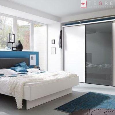 White Panel & White Glass Sliding & Built In Wardrobe 30