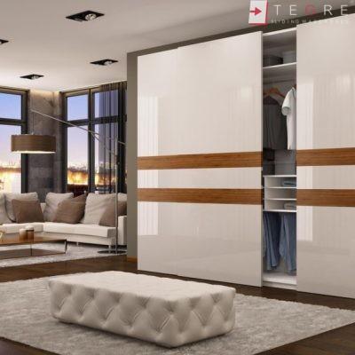 White Panel & White Glass Sliding & Built In Wardrobe 36