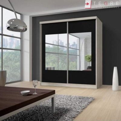 Sliding Wardrobes Mirror And Color Glass Black 25