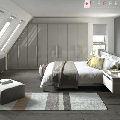 Traditional Wardrobes Phoenix Gloss Light Grey Bedroom 2